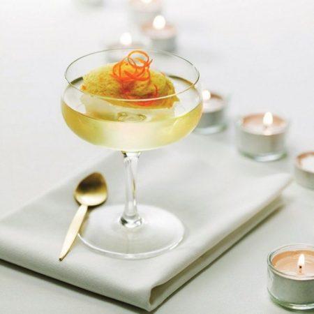 Gelee de champagne et mousse de clementine